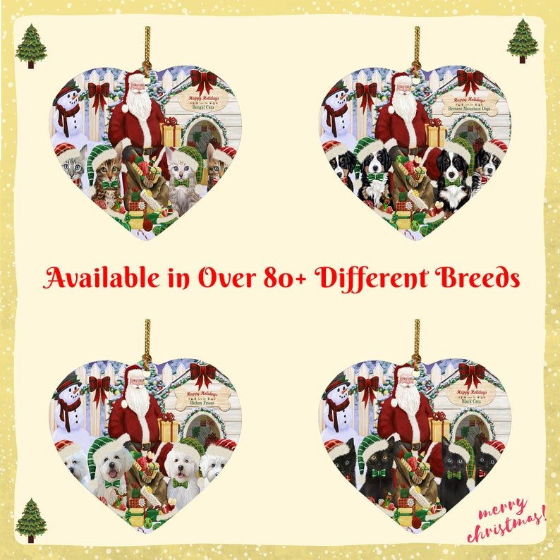 Christmas Dog Cat House Gathering Heart Ornament American Staffordshire American English Foxhound Akita Airedale Affenpinscher