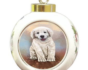 Golden Retriever Puppy Round Ball Christmas Ornament