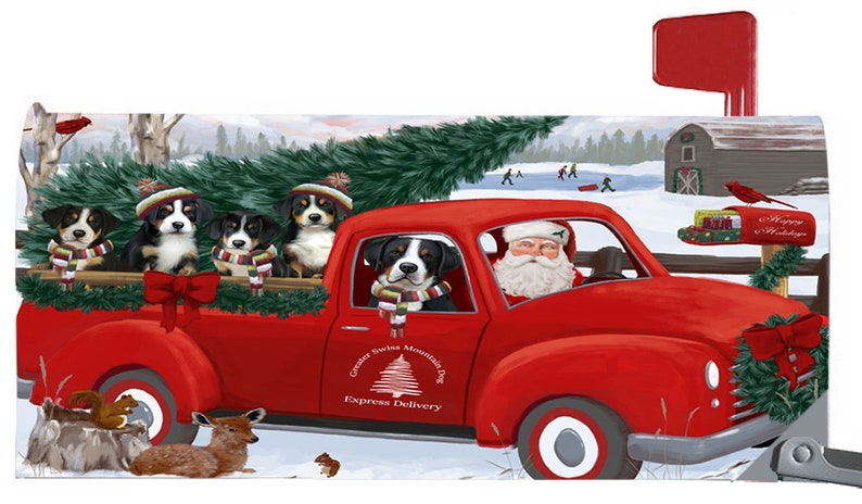 Great Dane Christmas Santa Express Delivery Red Truck Mailbox Covers Irish Setter Greater Swiss Mountain Great Pyrenee Havanese