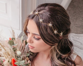Bridal hair vine with stars, Celestial wedding headpiece, Constellation hair accessories, Silver boho hair piece, Boho bride, Astrology vine