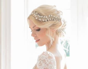 Crystal wedding hair vine, Rustic bridal headpiece, Bridal headpieces, Silver wedding hair vine, Leaf bridal hair vine, Bridal vine boho