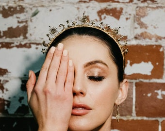 Gold Bridal Hair Accessories, Celestial wedding Accessory, Star Headpiece, Boho bridal headband, Bohemian crown, Gold stars hair piece