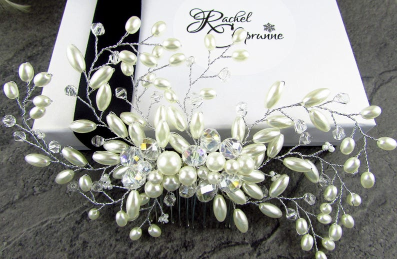 Wedding headpieces Silver hair accessories for wedding, Silver bridal hair accessory Bridal hair comb rustic Pearl bridal hair comb