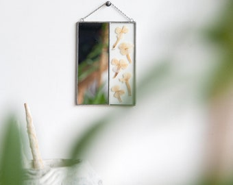 Natural pressed flowers, Scandinavian primitive, Wall hanging mirror, Double frame art, Minimalistic design, Delicate original gift