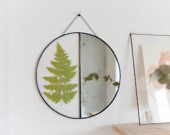 Unique Herbarium Mirror with Natural Pressed Flowers, Scandinavian Primitive, Minimalistic Wall Hanging Decor, Circle Mirror