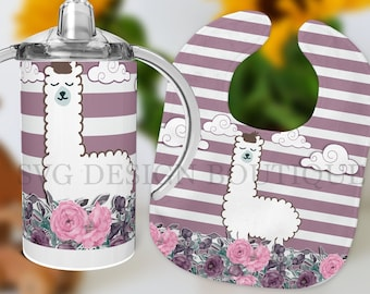 Cute Animal Sippy Cup Bib Set Sublimation Bundle Kids 12 oz Sippy Cup Template Gold Bib Sublimation Template Kids Tumbler Design