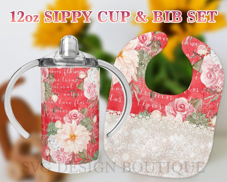 Lace Bib Sublimation Design Sippy Cup Tumbler Floral 12 oz Sippy Cup Template and Bib Set Sublimation Template Girl Sippy Cup Design