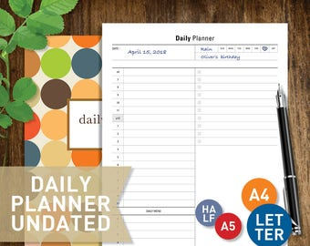 Hourly Planner Undated, PRINTABLE Daily Planner Inserts, Letter Half A4  A5 Day on One Pages DO1P Calendar Template (#051)