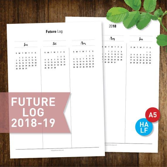 Zukünftige Log 2018-2019 bedruckbare jährliche Planer   Etsy