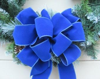 10 blue wreath bow blue velvet christmas bow blue christmas bow blue holiday bow hanukkah bow royal blue bow blue velvet bow - Blue Christmas Decor