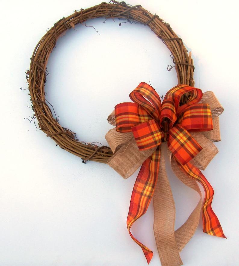 Thankful Field Stitch Plaid Fall Wreath Bow