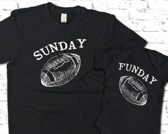 ebf431704f40b Black Sunday Funday Matching Shirts, football shirts, Pregnancy  announcement, NFL football Shirts, First Father's Day Gifts