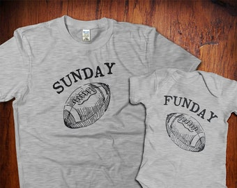 1ba643e8 Dad and Baby Matching Shirts, Father Son Shirts, Father Daughter, Sunday  Funday Football Shirts, Gift from Wife, Dad Matching