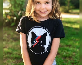 Cat Shirt for Kids, Cat T-shirt for Boys, Cat Shirts for Girls, David Bowie Shirt for Kids