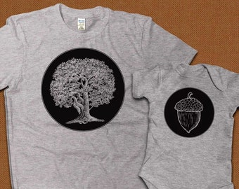 Dad and Baby Matching Shirts, Father Son Shirts, Matching T-shirts, Oak Tree and Acorn Shirts, Gift for New Dad, Fathers Day Gift from Wife