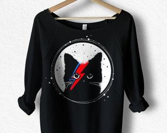David Bowie, Cat Shirt, Ziggy Stardust, Women's 3/4 length sleeve, Off the Shoulder Top, Bowie Shirt For Women, Gift for cat lover