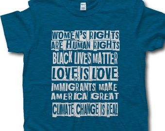 Protest Shirt, Gift for Activist, Intersectional Feminist,Womens Rights Are Human Rights,Black Lives Matter, Love is Love, Pink Robot Shirts