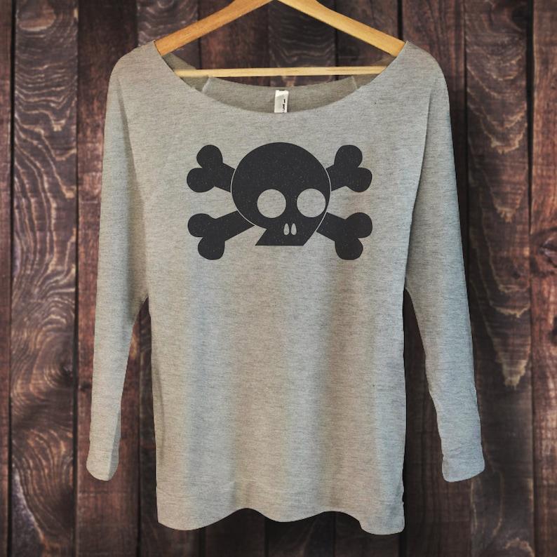 Skull And Crossbones Shirt For Women Gothic Style 3 4 Sleeve Etsy