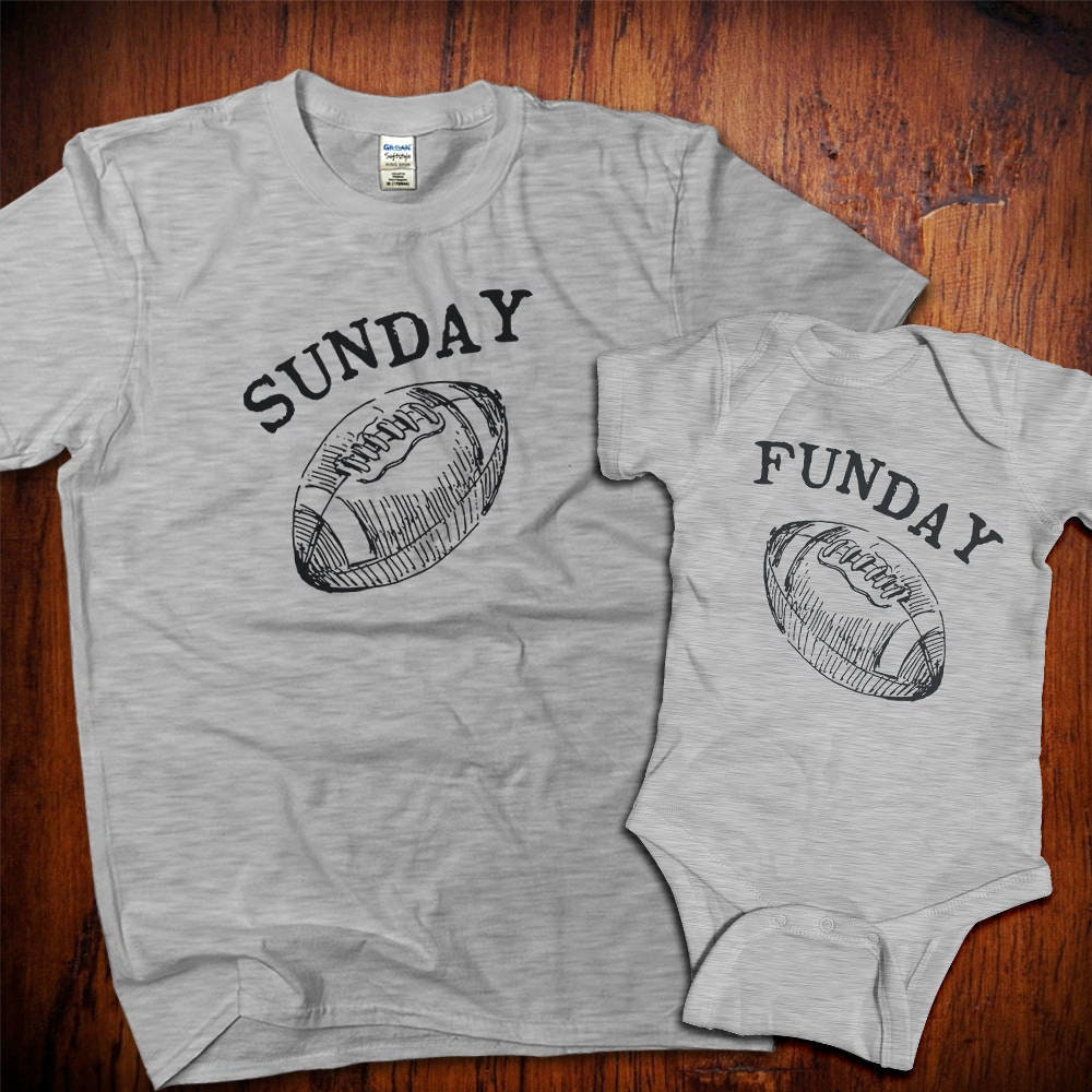Dad And Baby Matching Shirts Father Son Shirts Father Daughter Sunday Funday Football Shirts Gift From Wife Matching T-shirts Unisex Tshirt