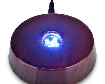 Set of 2 Santa Cruz Lights 4 LED Round White Light Stand Base for Crystal Art