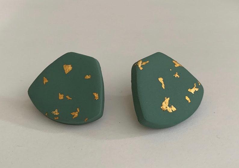 Polymer clay earrings Clay stud earrings Modern earrings Handmade earrings Statement earring Lightweight earrings