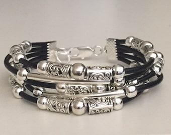 Bracelet for women, Boho bracelet/Women's leather bracelet/Beaded leather bracelet/Bohemian jewelry/Silver bracelet for women