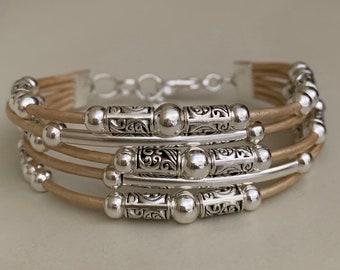 Boho bracelet, Silver bracelet for women, Bohemian jewelry, Women's leather bracelet, Beaded bracelet, Fashion jewelry, Silver plated