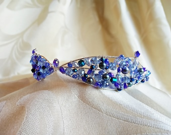 The 'Blue Butterfly' Crystal and freshwater pearl tiara/choker