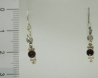 925 Sterling Silver Cute Red Garnet Earrings