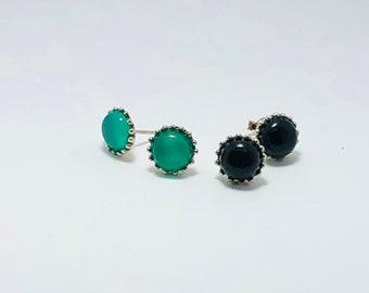 Sterling Silver Genuine Onyx Gemstone Stud Earrings