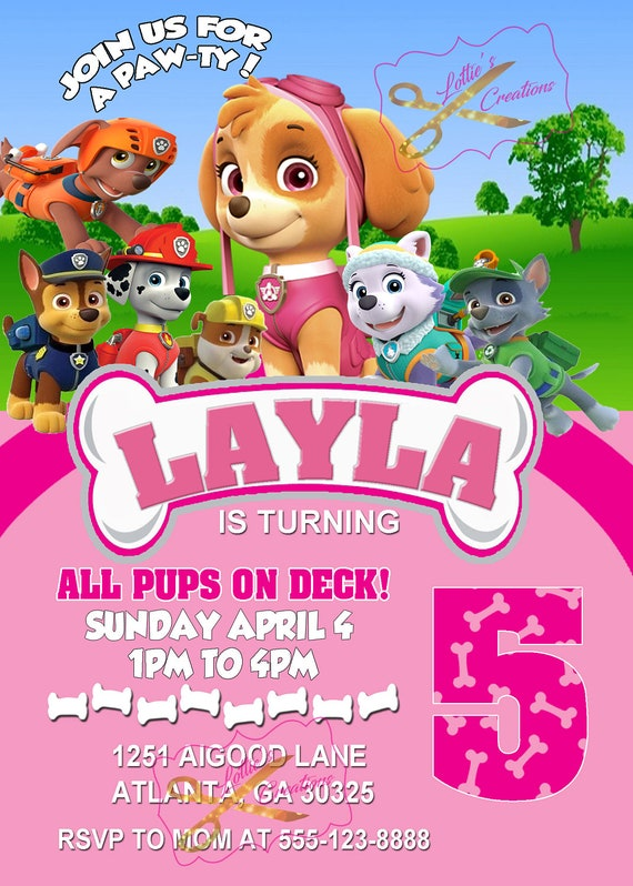 Paw Patrol Invitation Skye Paw Patrol Party Invite Paw