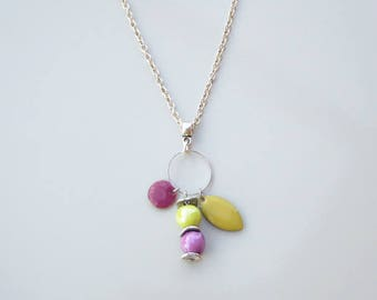 ceramics and lime green and purple sequins beads necklace