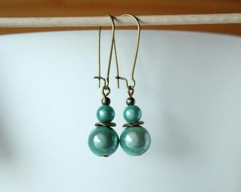 Earrings pearls magic almond Green