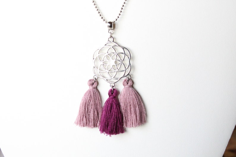 gift Christmas birthday long necklace handmade jewelry Pink and purple tassel necklace purple