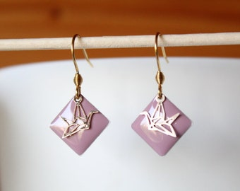 enamelled sequin pink old diamond and gold origami bird earrings