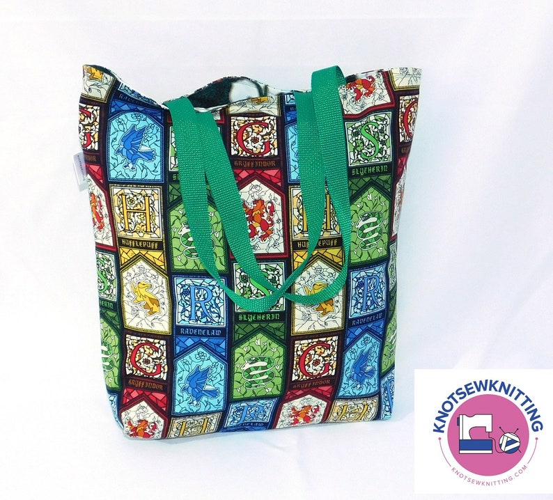 Harry Potter Hogwarts Hufflepuff Slytheran Tote Project Grocery Craft Reusable Reversible Bag