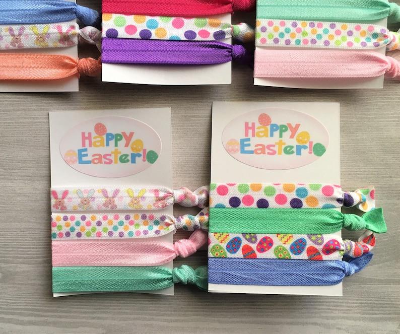 Easter Hair Ties,Knotted Hair Ties,Easter Eggs,Easter Bunnies,Elastic Hair Ties,No Crease Hair Ties,Elastic Bracelets,Ponytail,Party Favor