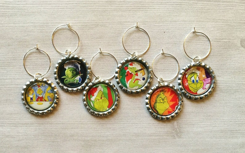 93f2a471c271f Wine Charms,Grinch,Drink Markers,Glass Markers,Wine Glass Charms,Bottle Cap  Wine Charms,Gift,Party Favor,Birthday,Handmade,Set of 6