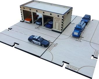 Mechanic Shop Building Kit DIY Matchbox Hotwheels Toy Garage- My Car City Building Sets