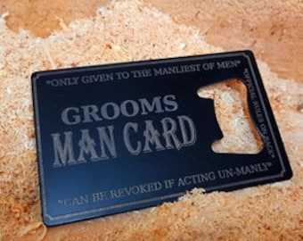 The Groom's Man Card Bottle Opener Business Card Size