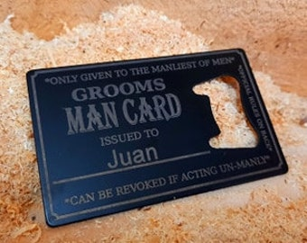 The Groom's Man Card PERSONALISED Bottle Opener Business Card Size