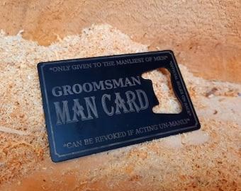 Groomsmen Man Card Bottle Opener Business Card Size