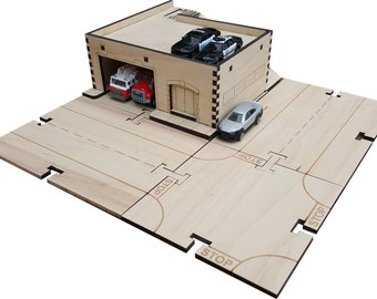 Fire Station and Police Station Building Kit DIY Matchbox Hotwheels Toy