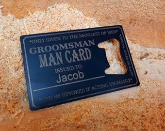 The Groommen's Man Card PERSONALISED Bottle Opener Business Card Size