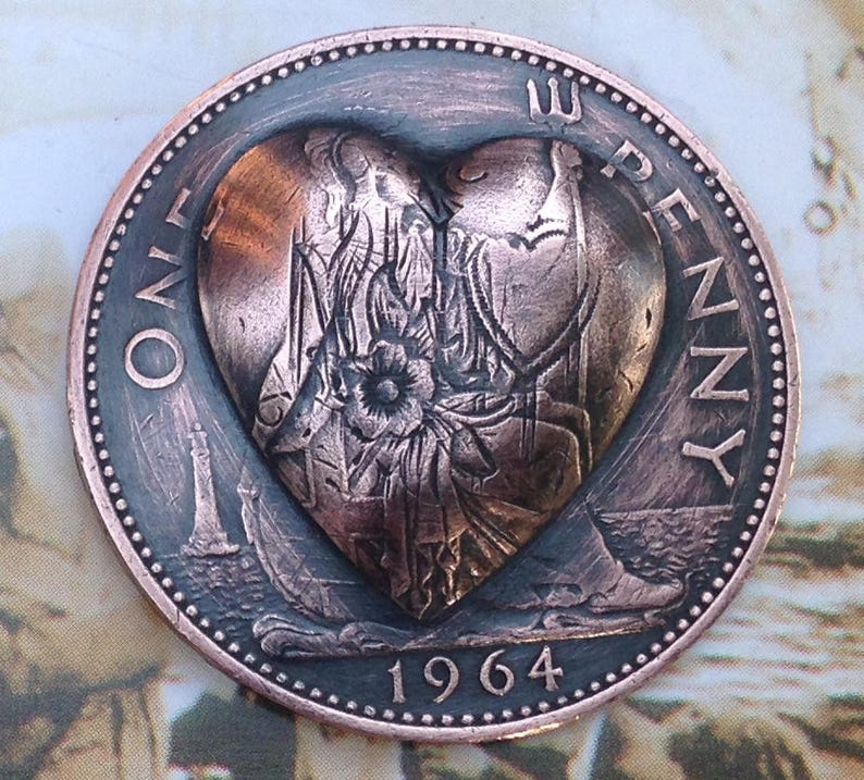 British One Penny 1905 to 1967 Repousse Coin -- Heart
