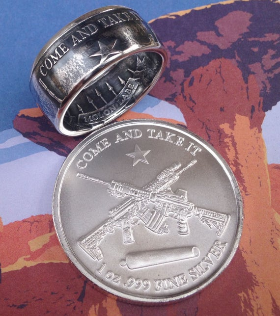 f5cf3c77d79d Molon Labe Come and Take It Coin Ring 99.99% Pure Silver