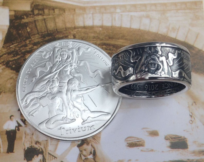 ff251afc6f97 Trivium Girl Coin Ring 99.99% Pure Silver