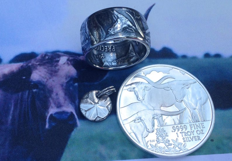 16596409a32a Texas Longhorn Coin Ring 99.99% Pure Silver