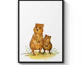 Australian Platypus Watercolour Animal Decor Art Print Poster A4 B1 Framed