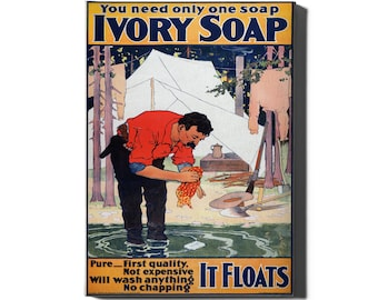 Ivory bathroom soap it floats pure vintage style metal wall plaque sign